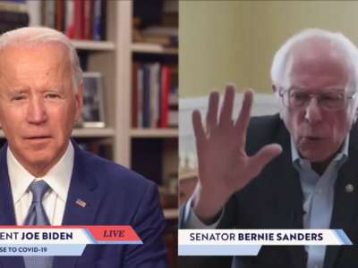 Sen. Bernie Sanders endorses Democratic presidential candidate former Vice President Joe Biden during a live streaming broadcast on April 13, 2020.