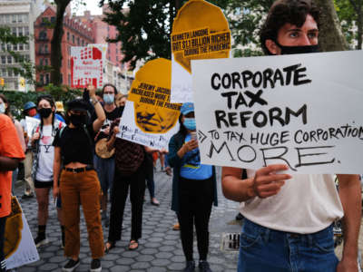 "People participate in a ""March on Billionaires"" event on July 17, 2020, in New York City."