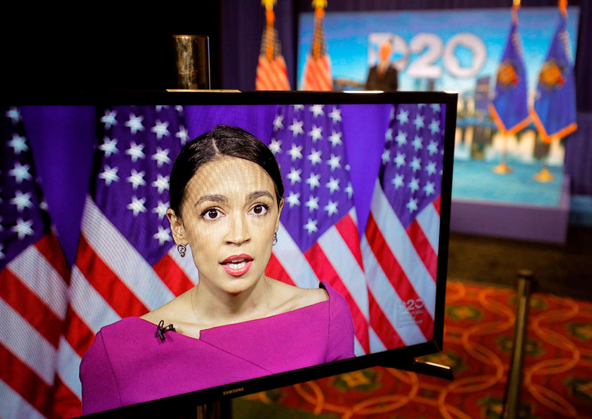 Rep. Alexandria Ocasio-Cortez speaks via video feed during the second day of the Democratic National Convention, being held virtually amid the novel coronavirus pandemic, at its hosting site in Milwaukee, Wisconsin, on August 18, 2020.