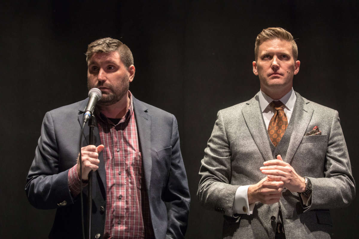 "Richard Spencer and Mike ""Enoch"" Peinovich from The Right Stuff hold a press conference on October 19, 2017, at the University of Florida, in Gainesville, Florida."