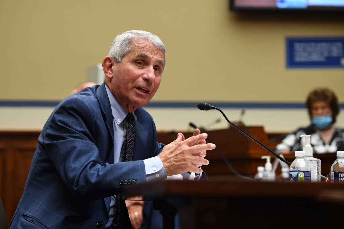 Dr. Anthony Fauci, director of the National Institute for Allergy and Infectious Diseases, testifies before a House Subcommittee on the Coronavirus Crisis hearing on July 31, 2020, in Washington, D.C.