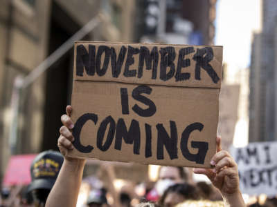"A protester holds a sign reading ""NOVEMBER IS COMING"" during a protest"