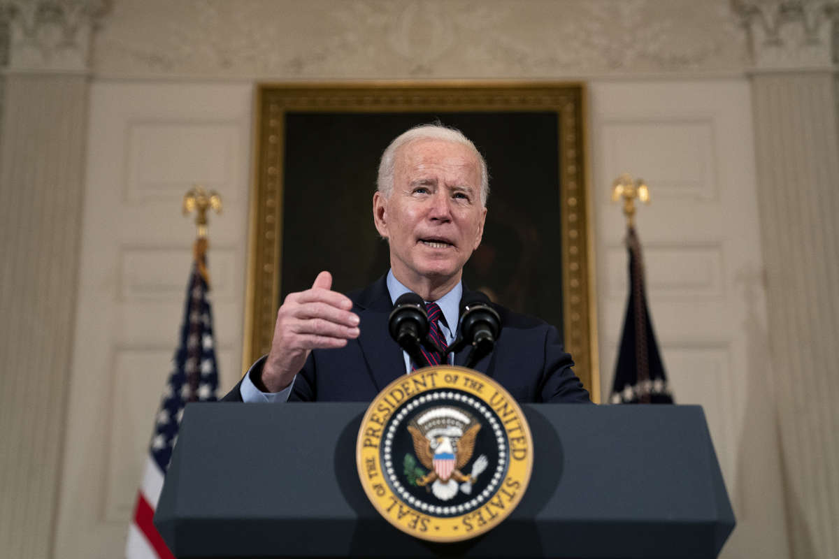 President Joe Biden delivers remarks on the national economy and the need for his administration's proposed $1.9 trillion coronavirus relief legislation in the State Dining Room at the White House on February 5, 2021, in Washington, D.C.