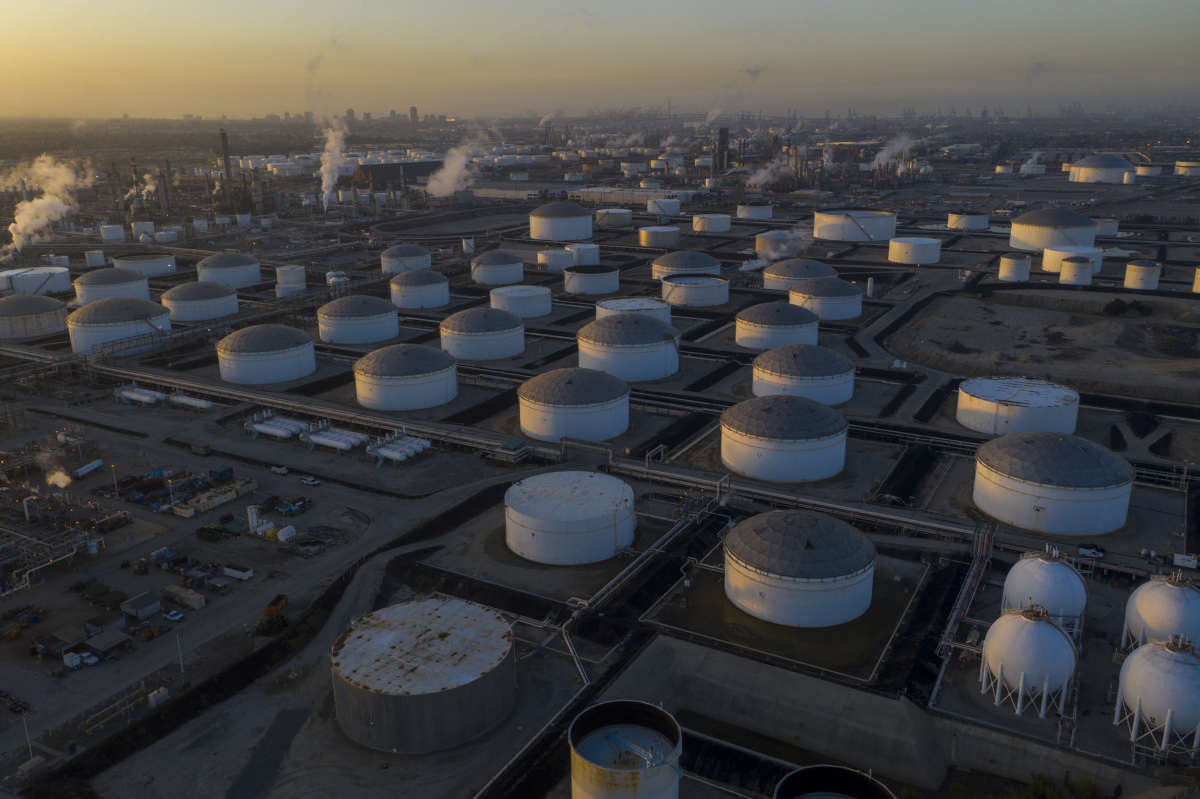 An aerial view shows Marathon Petroleum Corp's Los Angeles Refinery, the state's largest producer of gasoline, as oil prices have cratered with the spread of the coronavirus pandemic on April 22, 2020, in Carson, California.