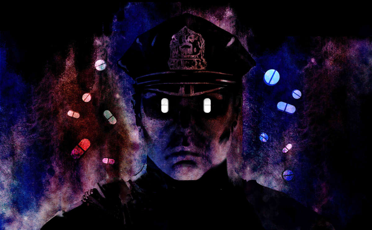 Illustration of police officer with pills for eyes, pills swirling about