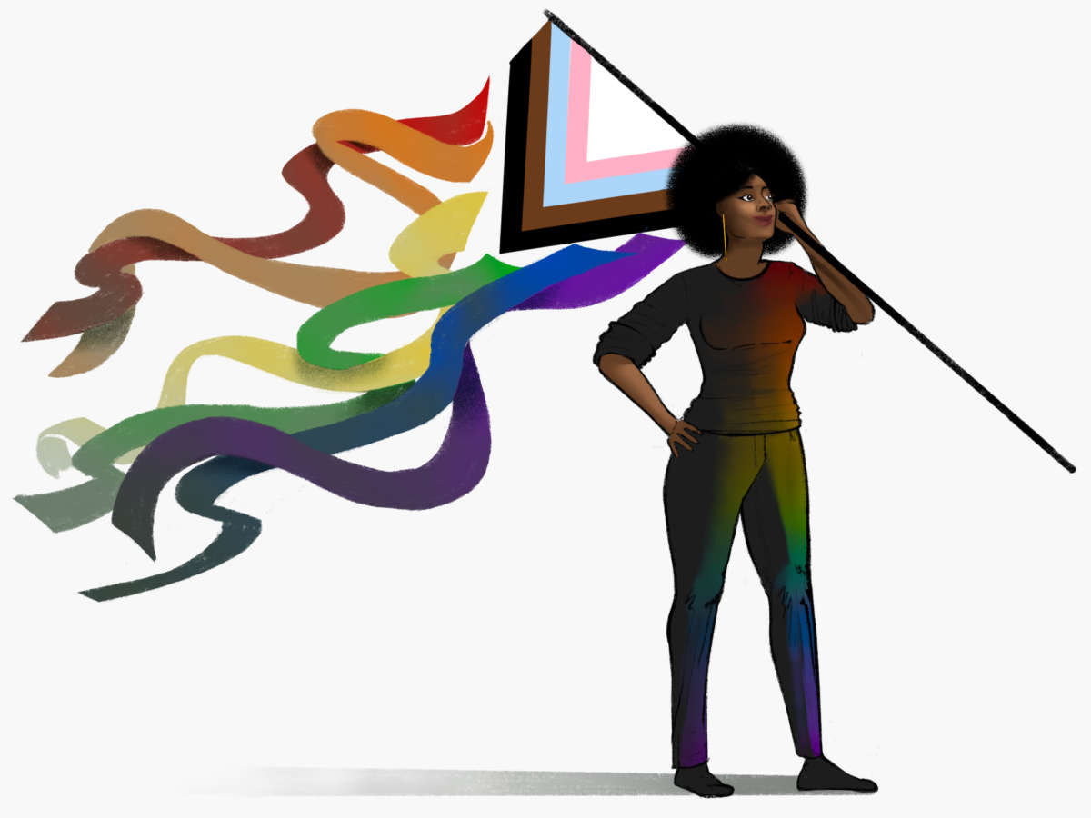 A woman stands with a QTPOC flag, the rainbow elements of which are falling off, in triumph.