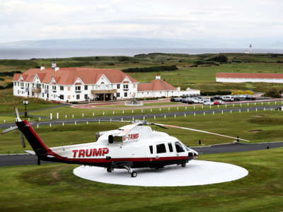 A Trump helicopter pictured at Trump Turnberry in Scotland, on June 28, 2017.