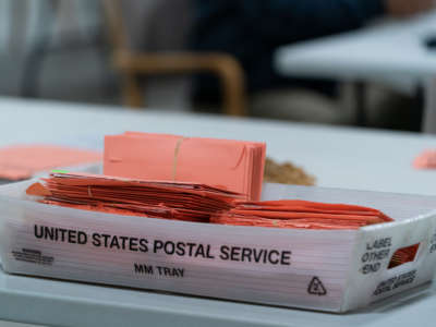 Provisional ballots are seen in a postal service tray at the Gwinnett County Board of Voter Registrations and Elections offices on November 7, 2020, in Lawrenceville, Georgia.