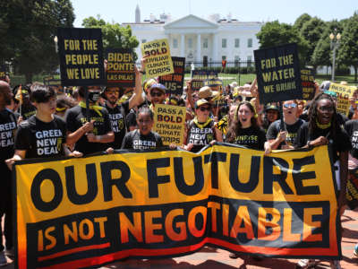 Hundreds of young climate activists rally in Lafayette Square on the north side of the White House to demand that President Joe Biden work to make the Green New Deal into law on June 28, 2021, in Washington, D.C.
