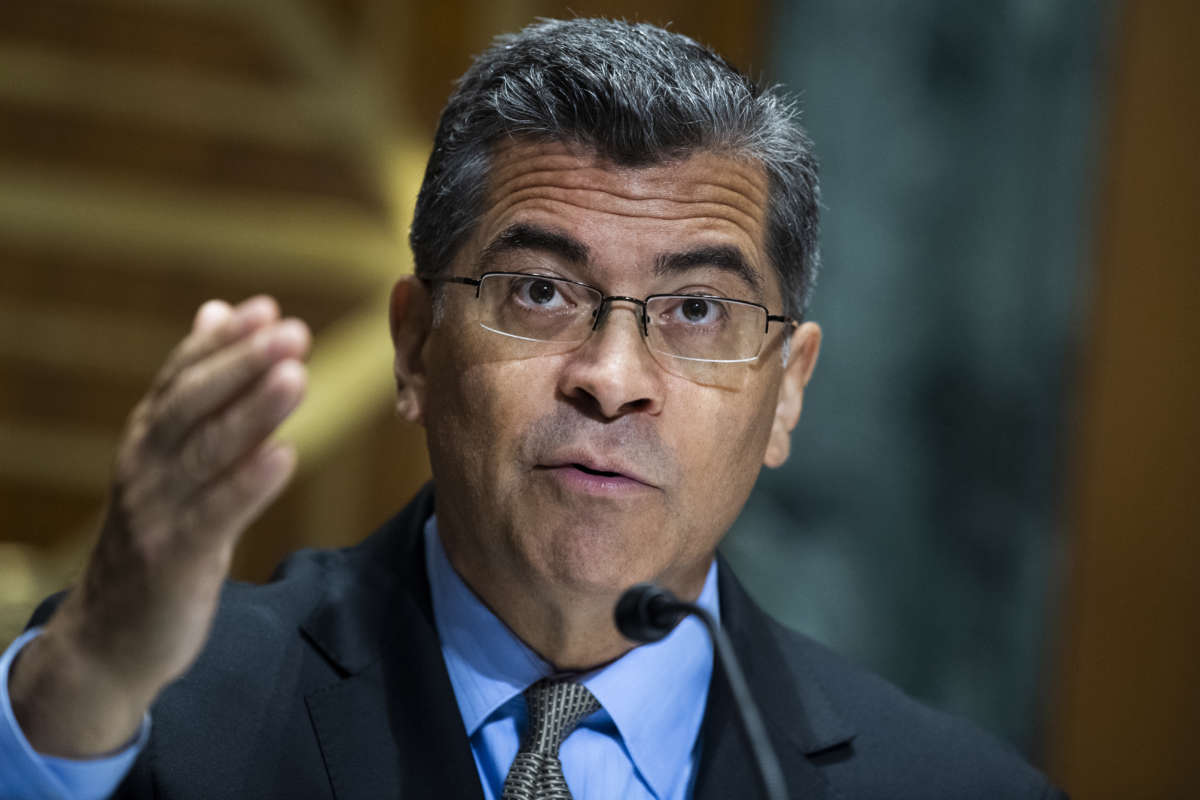 Xavier Becerra, secretary of Health and Human Services, testifies during the Senate Finance Committee hearing Thursday, June 10, 2021.