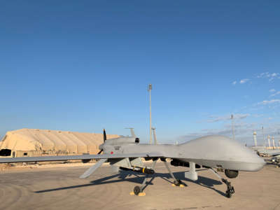 A picture taken on January 13, 2020, during a press tour organized by the U.S.-led coalition, shows U.S. army drones at the Ayn al Asad Air Base in the western Iraqi province of Anbar, Iraq.