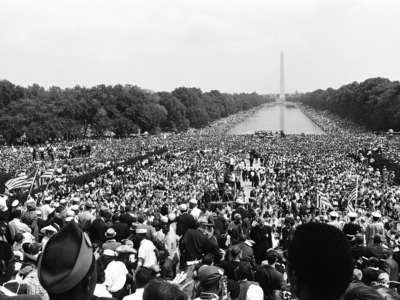 Crowds gather at the National Mall during the March on Washington for Jobs and Freedom in Washington, D.C., on August 28, 1963.