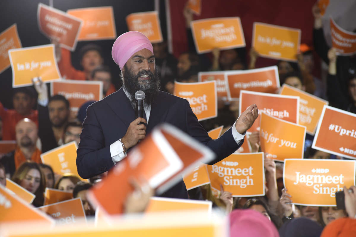 New Democratic Party Leader Jagmeet Singh speaks during a campaign rally in Brampton, Canada, on October 17, 2019.