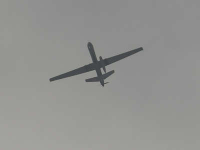 A drone flies over the airport in Kabul, Afghanistan, on August 31, 2021.