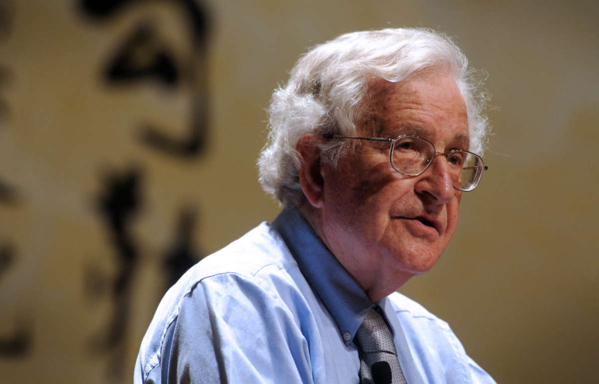 Noam Chomsky lectures during the ceremony for the Conferment of the Honorary Doctorate at Peking University on August 13, 2010, in Beijing, China.