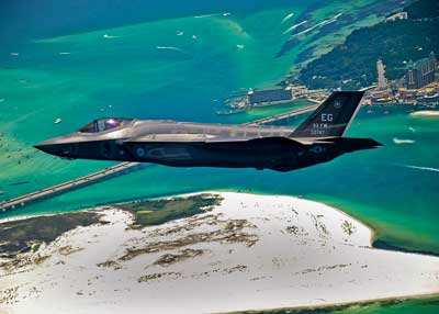 An F-35 Lightning II flies over Destin, Fla.