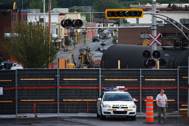 Image from the scene of the Lac Mégantic train derailing. (Photo: Axel Drainville)