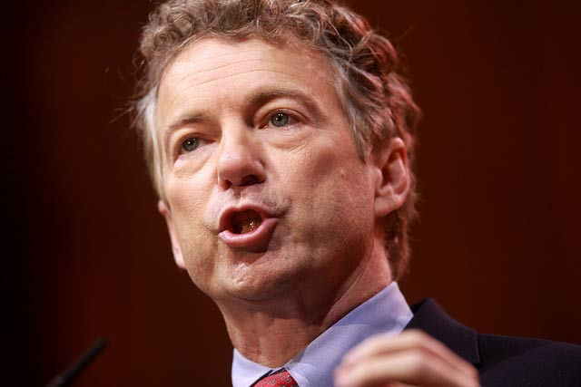 Senator Rand Paul of Kentucky speaking at the 2014 Conservative Political Action Conference (CPAC). Contrary to analysis, Paul has insisted that half the people getting Social Security disability are only suffering from back aches and occasional anxieties faced by all workers.