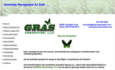 The GRAS Associates website explains the philosophy behind its butterfly logo. (Image: gras-associates.com)