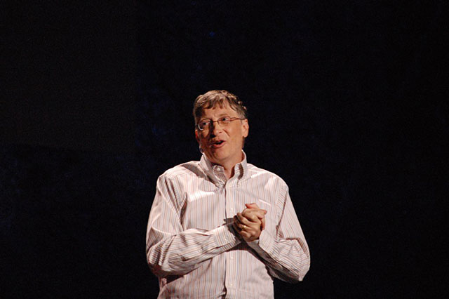 Bill Gates speaks at the TED conference in Long Beach, California, on February 5, 2009. (Photo: Red Maxwell)