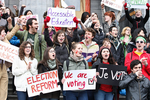McGill University students take part in a vote mob in Montreal, QC, April 14, 2011.
