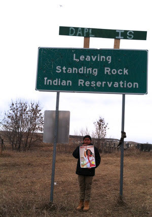 Eightball, age 13, is a proud Native from New Mexico. His favorite activities are participating in his people's ancient ceremonies and playing games on his cell phone. This was his first political action, and he longed to forgo the rest of seventh grade to remain at Standing Rock. The letters
