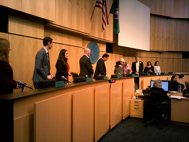 The Seattle City Council (pictured above) voted unanimously to divest the city's money from Wells Fargo. (Photo: Mark Taylor-Canfield)