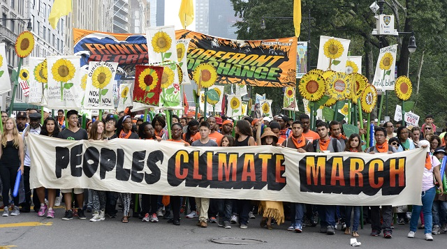 Marchers at the 2014 Climate March in New York City.