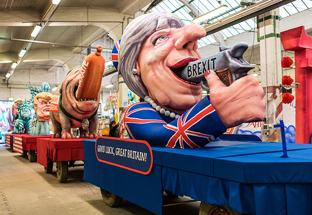 A float featuring British Premier Theresa May prior to the annual Rose Monday parade on February 27, 2017 in Dusseldorf, Germany. (Photo: Lukas Schulze / Getty Images)