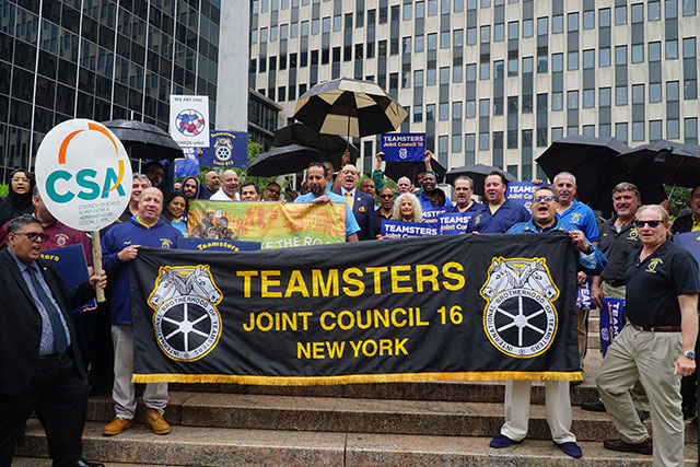 Teamsters rally outside ICE to free Eber Garcia Vasquez. (Credit: Courtesy of Teamsters Joint Council 16)