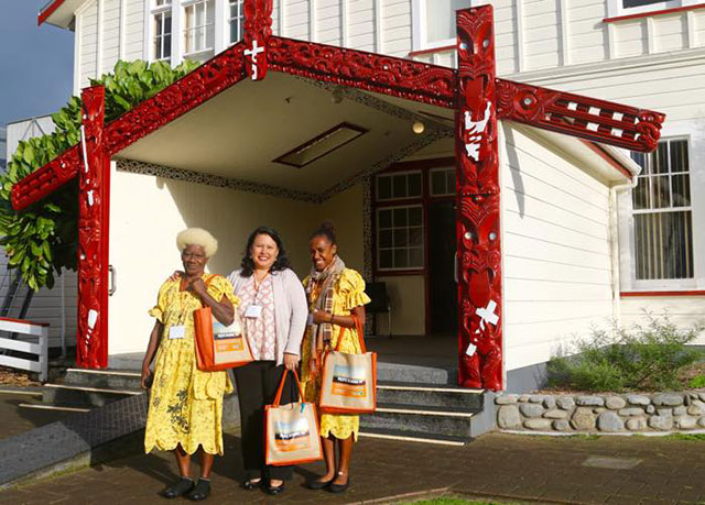 Some of the delegates at the hui are, from left, Numelin Mahana from Vanuatu; Lourdes Inga, who is the executive director of the International Funders for Indigenous Peoples; and Dorothy Moli from Vanuatu. (Photo: Rucha Chitnis)