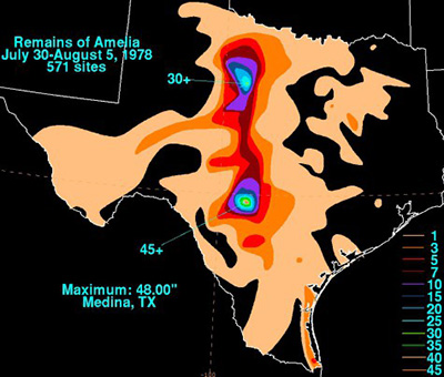 Amelia's 24 inch rains covered 500 to 600 square miles. David Roth, Weather Prediction Center, Camp Springs, Maryland National Oceanic and Atmospheric Administration, NOAA.