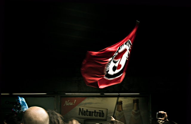 An Anti-Fascist flag is waved at the Techno Parade in Berlin, Germany, July 30, 2016. (Photo: Angela Schlafmütze)