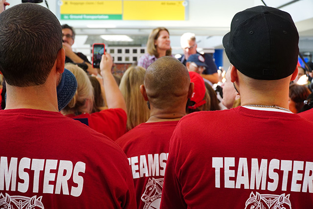 Teamsters listen to Liz Schuler ahead of their trip to Puerto Rico in October. (Photo: Alex Moore)