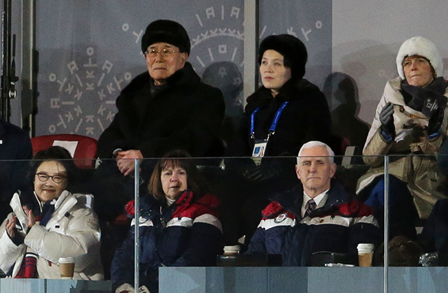 President of North Korea Kim Yong-nam and Kim Yo-jong, sister of President of North Korea Kim Jong-un (above), and Mike Pence, Vice-President of USA and wife Karen Pence (below) during the Opening Ceremony of the PyeongChang 2018 Winter Olympic Games at PyeongChang Olympic Stadium on February 9, 2018, in Pyeongchang-gun, South Korea. (Photo: Jean Catuffe / Getty Images)