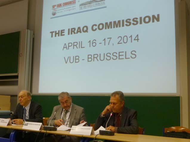 (Right to Left) Dirk Adriaensens, cofounder of the Iraq Commission and Brussels Tribunal, Sabah al-Mukhtar, chair of the Iraq Commission, and Michel Chossudovsky, Canadian economist at University of Ottawa. (Photo: Dahr Jamail)