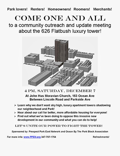 A flier for a community speakout against 626 Flatbush. (Photo: Aaron Cantu)