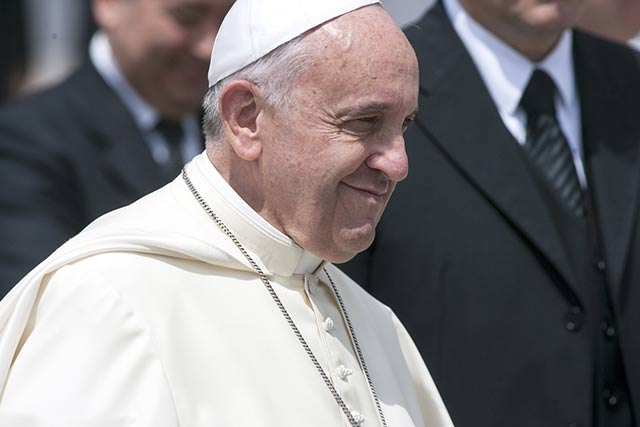 Pope Francis in St Peter's square at the Vatican on May 28, 2014.