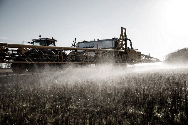 Farm equipment sprays glysophate onto crops. (Photo: Chafer Machinery)