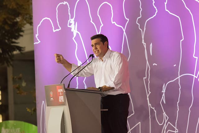 Prime Minister Alexis Tsipras giving his last public speech before the Greek elections, Athens, Greece, Sept. 18.
