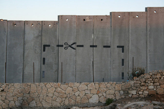 Grafitti on Israel's notorious West Bank wall.