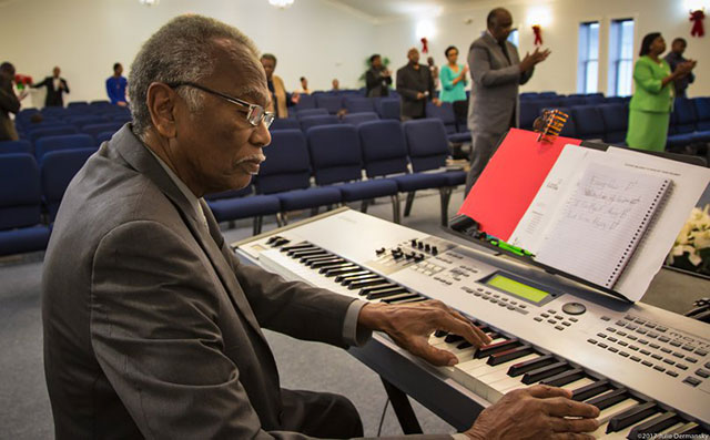Robert Taylor, playing organ at a service held at the Tchoupitoulas Chapel in Reserve, where the Concerned Citizens of St. John holds most of its meetings.
